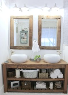 rustic master bathroom - the space between rustic bathroom vanity and mirrors - so many great details that feel like fall Rustic Master Bathroom, Rustic Bathroom Vanities, Rustic Bathrooms, Wood Bathroom, Bathroom Furniture, Diy Furniture, Bathroom Ideas, Bathroom Mirrors, Design Bathroom