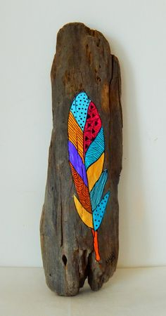 Original hand painted driftwood by Malu Castro Title: Vuela Dimensions: 3.5 x 11 inches - 9 x 29 cm Medium: Acrylic paint on driftwood All my
