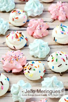 Jello Meringues are a fun and fruity dessert idea! Experiment with different flavors, add mini chocolate chips, top with sprinkles or dip them in chocolate!