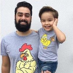 2019 New Arrival Father And Son Clothes Fahion Style Cute Pattern Family T Shirt Family Matching Outfits Father Son Matching Shirts, Matching Family T Shirts, Family Shirts, Matching Outfits, Daddy And Son, Father And Son, Baby Chickens, Cute Family, New Dads