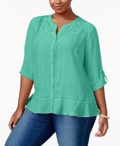 NY Collection Plus Size Lace-Yoke Blouse