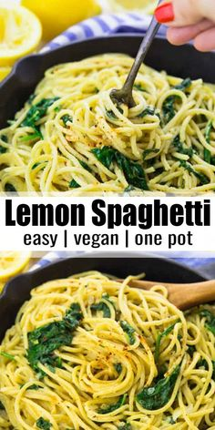 These lemon spaghetti with spinach are the perfect dinner recipe for busy weeknights! I love making one pot meals! They're so easy and comforting. This is one of my favorite vegan dinner recipes! dinner Lemon Spaghetti with Spinach (One Pot) Spaghetti With Spinach, Lemon Spaghetti, Vegetarian Spaghetti, Spinach Pasta, Vegan Vegetarian, Lemon Pasta, Baked Spaghetti, Spaghetti Recipes, Veggie Spaghetti