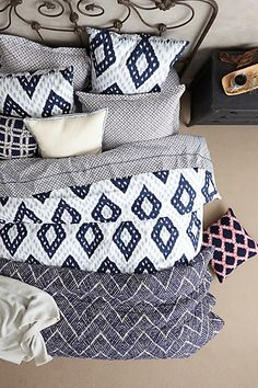 Cozy bedding with blue accents