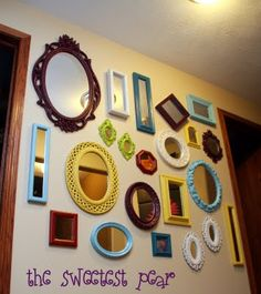 Wall collage with mirror stairs 30 ideas Mirror Wall Collage, Mirror Gallery Wall, Wall Mirrors, Wall Art, Mirror Shop, Diy Mirror, Mirror Ideas, Decorate Mirror, Mirror Art