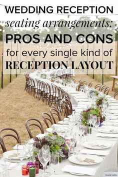 Wedding reception seating arrangements: Pros and cons for every table layout! Pin now, read later.