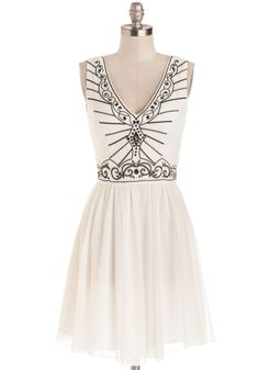 New York Minuet Dress. Whether youre waltzing down Fifth Avenue or enjoying a harmonious evening at Carnegie Hall, youll do so in superbly chic style while wearing this white dress! #white #modcloth