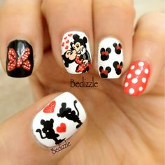 Mickey and Minnie nails by Bedizzle