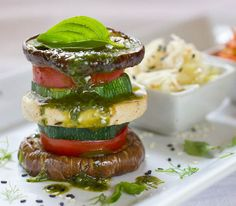 Stacked Veggies with Marinated Tofu Burger & Basil Oil