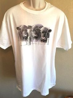 Cow Shirt T Shirt Black Angus Cattle  Adult XL White Custom Orders Welcome…