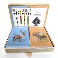 Vtg CONGRESS Playing CARDS Bridge Poker 2 Deck CARIBOU & MOOSE