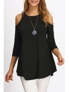 Open Shoulder Round Neck Loose Fitting Plain T-Shirts - Onlyyo.com Tunika  Oberteile 88e859a566