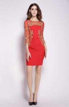 Golden Thread Embroidery Lace Short Dress e871a5b70