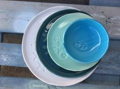 Handmade ceramic dinnerware collection, stamped with Sea Stars and Amonities. Mix&Match 4 different colours and you prefer,