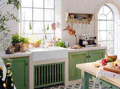 Grass-Green French Country Kitchen   from Campagne Décoration  House & Home