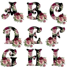 Alfabeto retro relleno de flores. | png şekilli harfler,süslü png harfler,güllü png harfler