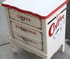 Shabby Chic Vintage Coffee Storage Table Cart French Provincial. $200.00, via Etsy.