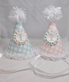 Shabby Chic Twin 1st Birthday Party Hats by CardsandMoorebyTerri, $24.00