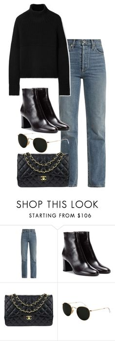 """Untitled #3299"" by elenaday ❤ liked on Polyvore featuring Eve Denim, Yves Saint Laurent, Chanel, Ray-Ban and Burberry"