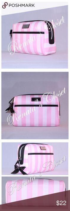 """Victoria's Secret Large Beauty Bag * style # 3656062GMOS * color - Victoria Stripe * 9""""L x 3.25""""W x 4.75""""H * imported satin liner * PVC shell * top zip closure * interior zip pocket * exterior front slip pocket * imported * from a smoke-free home  DISCLAIMER - ALL listings are videotaped before packing for shipping for proof of the quality of the item. This is to protect the seller from fraudulent claims. Victoria's Secret Makeup"""