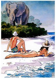 elephant by milo manara Manado, Watercolor Illustration, Graphic Illustration, Manara Milo, Jordi Bernet, Female Character Concept, Comic Kunst, Bd Comics, Luis Royo