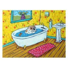 Bulldog - 8x10 inch dog art PRINT, bathroom art, bathroom print, dog, dog art,. modern folk art, bulldog print, bulldog art, dog print, $12.49