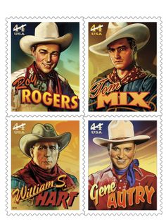 Cowboys of the Silver Screen block of four US stamps: Roy Rogers, Tom Mix, William S. Hart and Gene Autry Western Film, Western Movies, Western Art, Western Style, Country Style, Into The West, Postage Stamp Art, The Lone Ranger, Cowboy Up