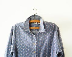 Vintage Chambray Floral Button Up Shirt / Pink Floral Denim Shirt / Cotton Chambray Floral Blouse