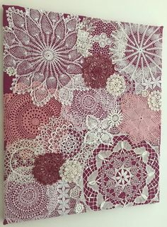 Your place to buy and sell all things handmade Excited to share the latest addition to my shop: Doily Art Wall Hanging - Strawberry Patch - Medium - Vintage Doilies on Burlap - Unique Artwork Doilies Crafts, Lace Doilies, Crochet Doilies, Framed Doilies, Crochet Projects, Sewing Projects, Doily Art, Lace Art, Crochet Wall Art