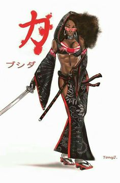 Bushida by Sketchjitsu on DeviantArt Sexy Black Art, Black Love Art, Black Girl Art, Black Is Beautiful, Art Girl, Afro Samurai, Samurai Art, Arte Cholo, Arte Black