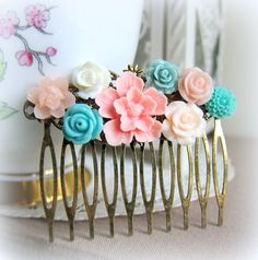 Pink and Turquoise Wedding Hair Comb, An ensemble of floral collage in hues of blush pink, pastels and aqua blues. - JEWELSALEM-