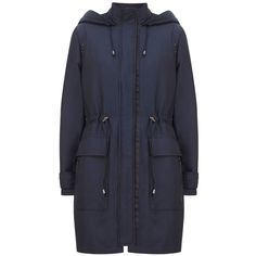 Mint Velvet Navy Sateen Finish Parka ($235) ❤ liked on Polyvore featuring outerwear, coats, blue, women, navy blue parka, padded parka, navy coat, parka coats and mint velvet