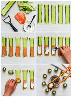 As a representative of Japanese food, sushi is arguably the most widely spread. Can be seen on tables all over the world. But traditional sushi has high requirements on ingredients and technology. Let's explore its simplified version. Sushi Recipes, Asian Recipes, Appetizer Recipes, Cooking Recipes, Healthy Recipes, Cucumber Appetizers, Cooking Pork, Sushi Style, Snacks Für Party