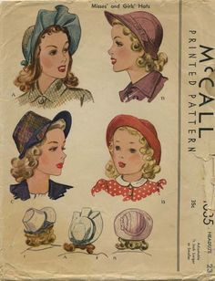 Vintage Hat Sewing Pattern | McCall 1035 | Year 1943 | Headsize 23""