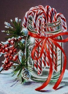 Candy Cane Christmas | Candy canes in a blue Ball jar with a red ribbon tied around it! I'm going to do this next Christmas! - gypsy18