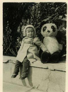 "Vintage Photo ""Creepy Panda Alert"" Toy Snapshot Photo Old Antique Photo Black…"