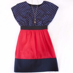 Zara basic red white and blue polka dot dress Super super cute! Perfect for summer and July 4th. With pockets! In great used condition and recently dry cleaned. The tags were cut out but I'm thinking it's polyester blend. The top is silky and the bottom is a little heavier. Please ask questions before purchase since I'm unsure of the actual materials. The middle is black elastic, which you could wear a cute belt over. Size small. Zara Dresses