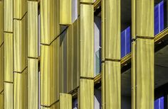Gold metal blue sky - The modern metal facade of the Park Royal Palace Hotels has aroused my attention. In particular, the contrast of the golden yellow, perforated façade and the blue sky, it was worth to take some photo's. Palace Hotel, Royal Palace, Park Royal Singapore, Metal Facade, Facade Design, Golden Yellow, Jasmine, Photo S, Peacock