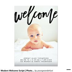 Modern Welcome Script | Designer Photo Birth Announcement