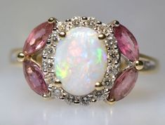Australian Opal Diamond Rubellite Tourmaline Ring/September Birth stones- Opal & Tourmaline