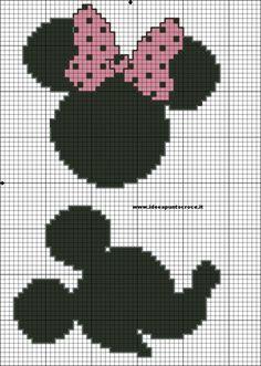 Minnie and mickey cross stitch pattern Cross Stitch Boards, Cross Stitch For Kids, Cross Stitch Baby, Beaded Cross Stitch, Crochet Cross, Cross Stitch Embroidery, Disney Stitch, Silhouette Mickey, Stitch Character