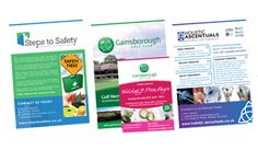 Various leaflets designed and printed in a variety if quantities and paper stocks