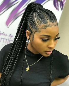 Pin By Darline On Braids Braids For Black Hair Braided Ponytail Hairstyles Braided Hairstyles- cornrow hairstyles for black women new hairstyles for black women Braided Ponytail Hairstyles, African Braids Hairstyles, Protective Hairstyles, Weave Hairstyles, Girl Hairstyles, Hairstyles 2018, Protective Styles, Feed In Braids Ponytail, Cornrows Ponytail