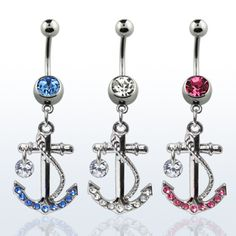 Amazon.com: Surgical Steel Pink Crystal Dangling Anchor Belly Button Ring: Jewelry