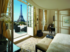 Situated just across the Seine from the City of Light's beloved Eiffel Tower, the Shangri-La takes its decorative cues from France's Empire period, courtesy of interior designer Pierre-Yves Rochon. Shown is the view from the Eiffel Duplex Terrace Suite.