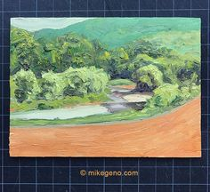 """""""Vermont Landscape 2"""" Ready to frame original oil painting. 8x11"""""""" oil on wood panel  Panel is 1/4"""" thick.  This is part of a series of landscapes I painted while in Vermont. The thick paint translates the beauty of the trees, rivers and mountains. #landscape #painting #Vermontlandscapepainting"""