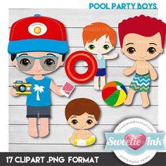 Pool party boys kawaii clipart por SweetieInk en Etsy