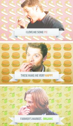 Dean, Castiel and Sam. I think food is the sub plot of Supernatural. Dean Winchester, Dean Castiel, Sammy Supernatural, Winchester Brothers, Supernatural Pictures, Supernatural Wallpaper, Supernatural Quotes, Sam Dean, Dean And Cas