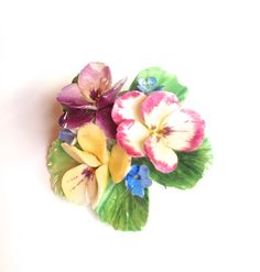 Vintage Crown Staffordshire china flower brooch.