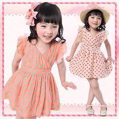 2015 High quality children dress dot chiffon new Kids Korean models baby dress baby girl clothing free shipping