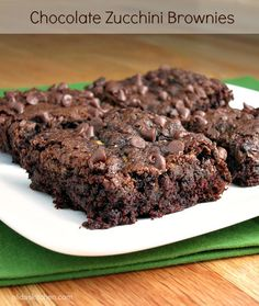 O.M.G. these are fudgy and amazing!! Healthy Chocolate Zucchini Brownies from alidaskitchen.com